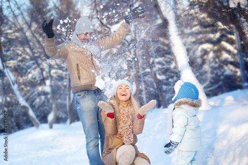 Family fun in a winter - 74883647