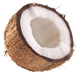 Half of coconut isolated on a white background.