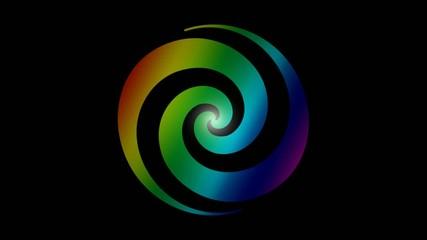 Drehende Spirale mit Regenbogen
