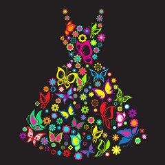 Vector illustration fashionable dress with butterflies and flowe