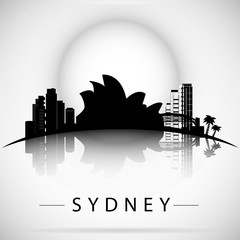 sydney City skyline with reflection. Typographic Design