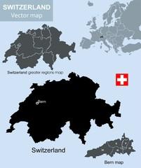 Switzerland and Bern vector map