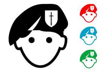 Pictograma icono fuerzas especiales con varios colores