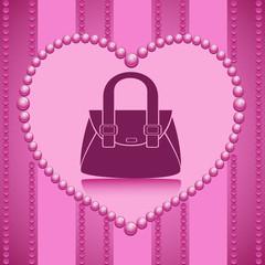 Vector drawing fashionable handbag on a beautiful striped purple