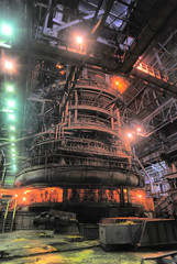 Working blast furnace at the metallurgical plant