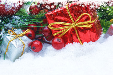 Christmas gifts and berries