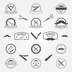 Vector set of barber shop logo