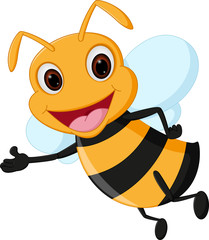 Flying bee cartoon presenting