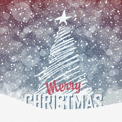 Falling Snow. Christmas Background with Christmas Tree Symbol