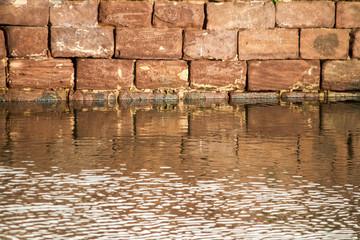 red stone brick wall