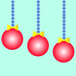 Red Christmas balls with yellow ribbons