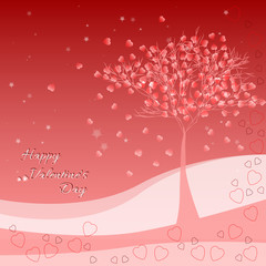 Greeting card with tree of love on Valentine's day. February 14