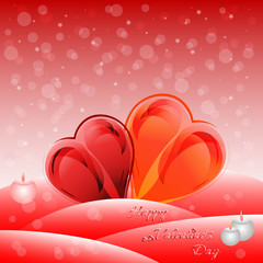 Greeting card with hearts on Valentine's day. February 14