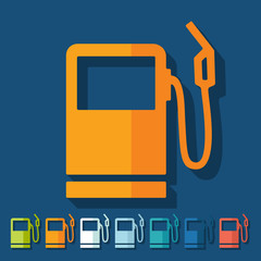 Flat design: gas station