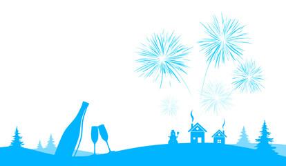 Silvester Feuerwerk blau