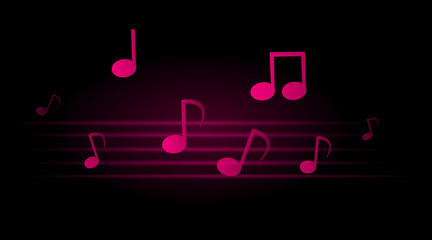 glowing musical notes on dark background