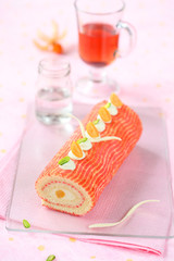 Deco Swiss Roll Cake decorated with physalis and pistachios