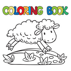 Coloring book of little funny sheep