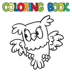 Coloring book of little owl