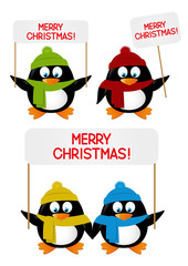 Set of cartoon penguins with greeting cards