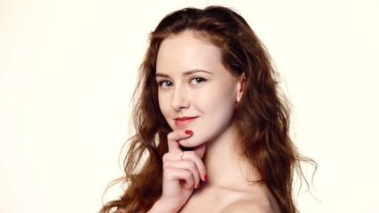 Closeup beauty portrait of beautiful woman
