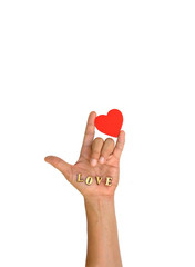 """Hand with heart and letter """" LOVE """""""