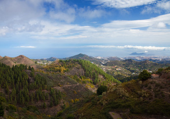 Gran Canaria, aerial view from central mountains towards Las Pal