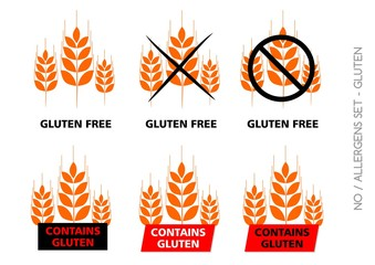 Orange Gluten Free Signs isolated on white background