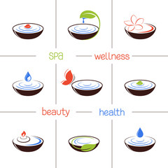 Icons and emblems for SPA, ayurveda, beauty and wellness