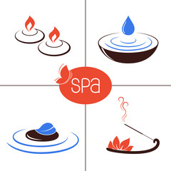 Icons and emblems for SPA, ayurveda, beauty and aromatherapy