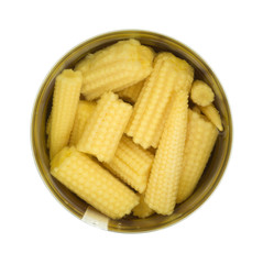 Baby corn nuggets in opened can