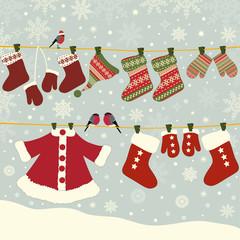 Set of Christmas elements on blue background