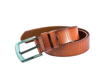 leather belt for men on white background.