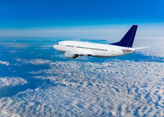 Passenger airliner flight in the blue sky