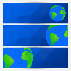 Vector set of blue world globe banners