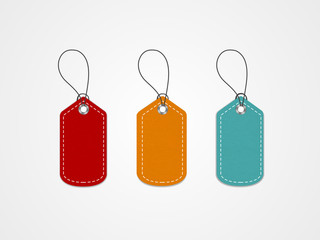 Colorful tags or label design on shiny grey background.