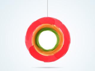 Splash colour in hanging circle shape.