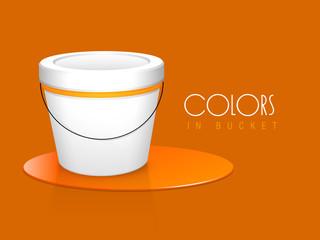 Orange colour paint bucket with stylish text.