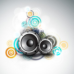 Musical instrument speakers on seamless background.