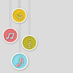 Colorful musical note icons.