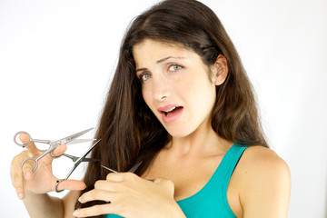 woman stressed about long hair willing to cut but not ready