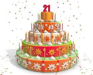 taart gekleurd met cijfer 21