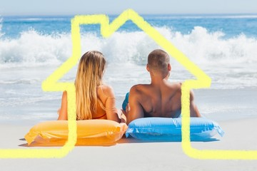 Composite image of cute couple in swimsuit sunbathing together
