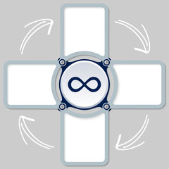 four areas for any text and infinity symbol