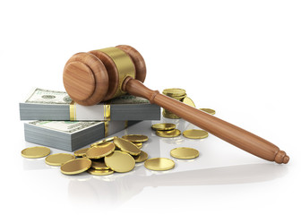 Concept of penalty. Wooden cravel and dollars with coins on the