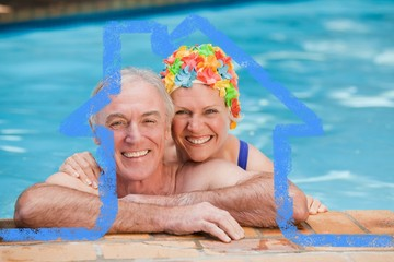 Composite image of happy mature couple in the swimming pool