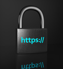 HTTPS padlock isolated on the black background. Сoncept of a se