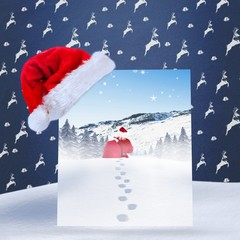 Composite image of santa delivery presents to village
