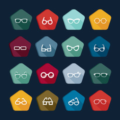 Eye glasses icons set 4