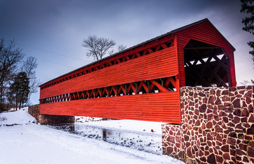 Sach's Covered Bridge during the winter, near Gettysburg, Pennsy